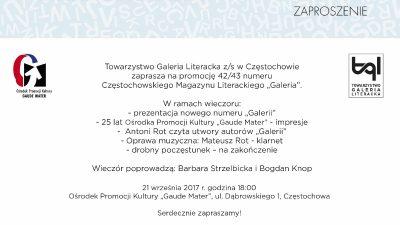 """Zaproszenie na promocję """"Galerii"""" nr 42/43."""