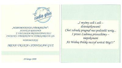 Wspomnienia sybiraków w Radiu Głos - 28 lutego 2000.